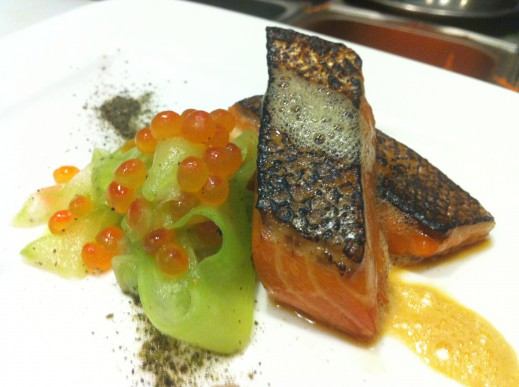 Green Tea Smoked King Salmon Toro, Cucumber Ikura Salad, Dashi Air, Wakame Powder