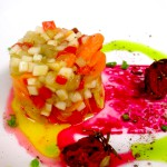Pickled Root Vegetables, Beet Juice Reduction, Semi Dried Heirloom Tomatoes, Chive oil