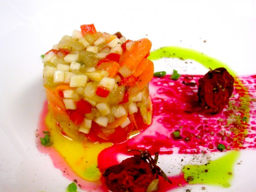 Pickled Root Vegetables, Beet Juice Reduction, Semi Dried Heirloom Tomatoes, Chive Oil 3