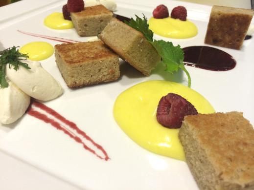 Liquorice Cake, Yuzu Curd, Shirazberry Sauce, Shiso Créme